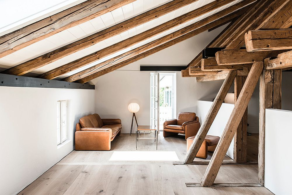 Small modern rustic living room in the attic in white