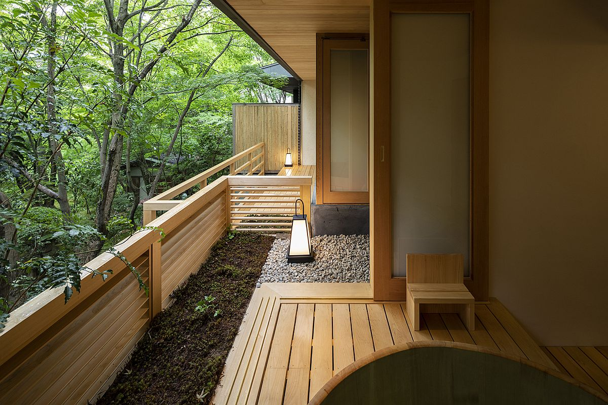 Small wooden decks overlooking the garden at the relaxing Japanese home