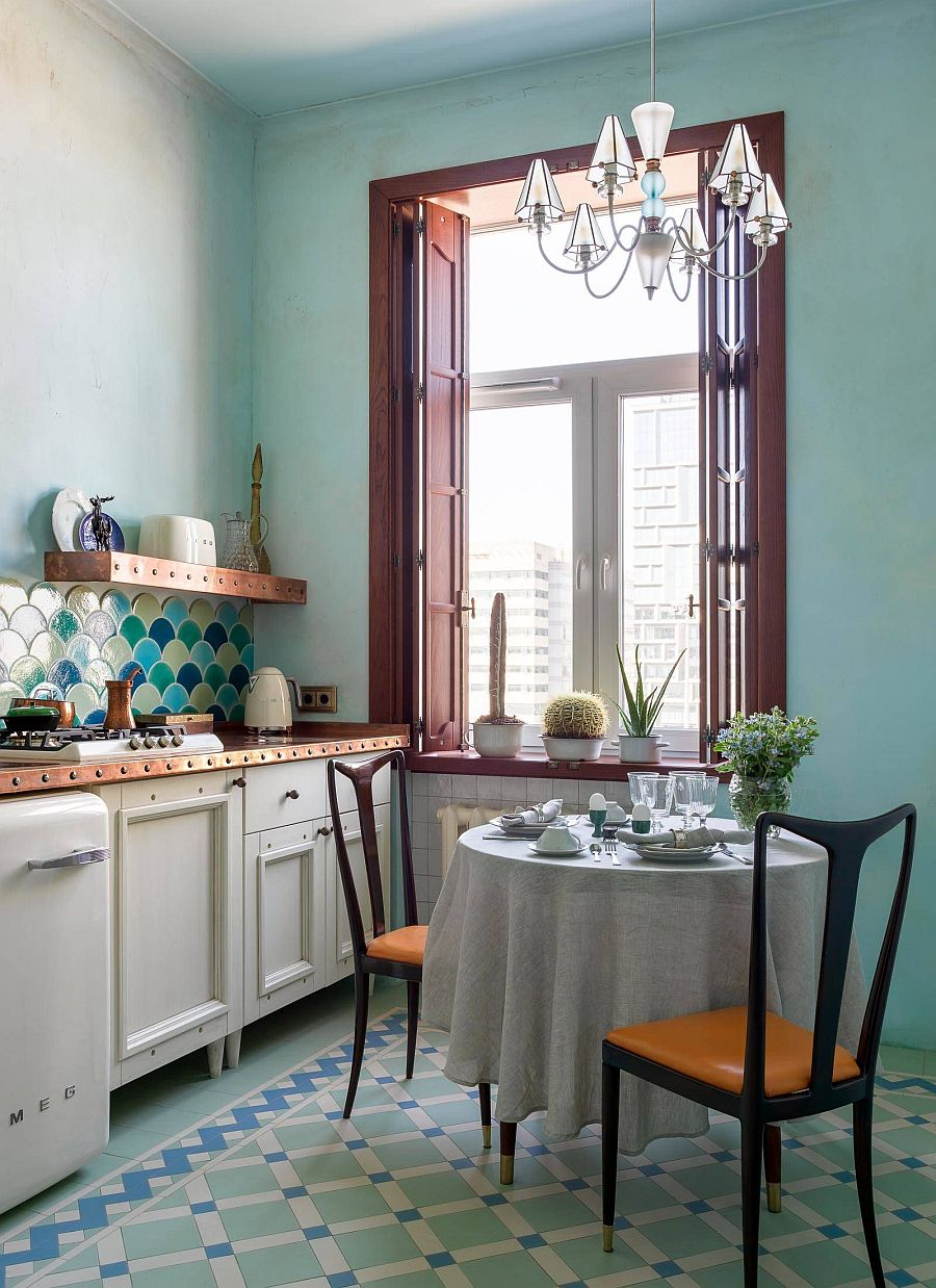 Large window brings all the necessary light into this Mediterranean style kitchen