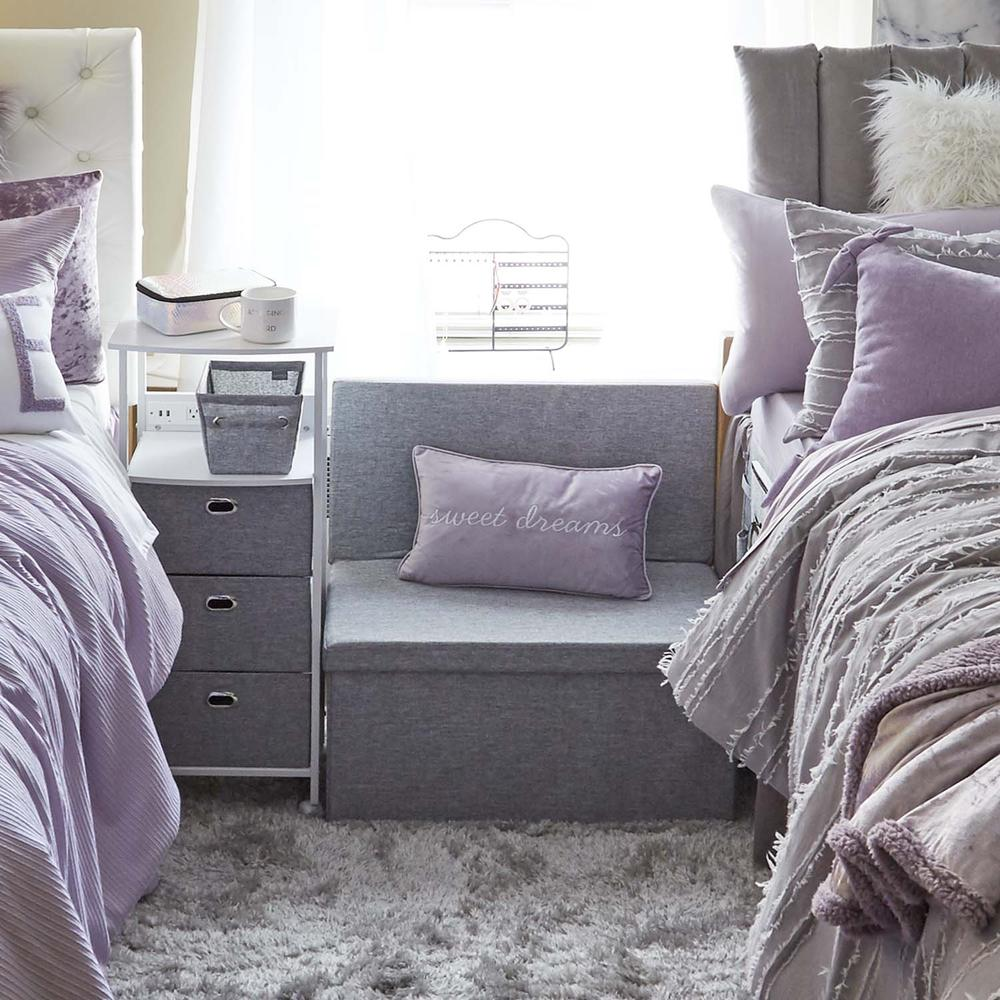 Collapsible storage bench in grey