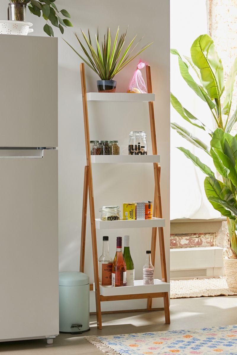 Leaning bamboo storage shelf