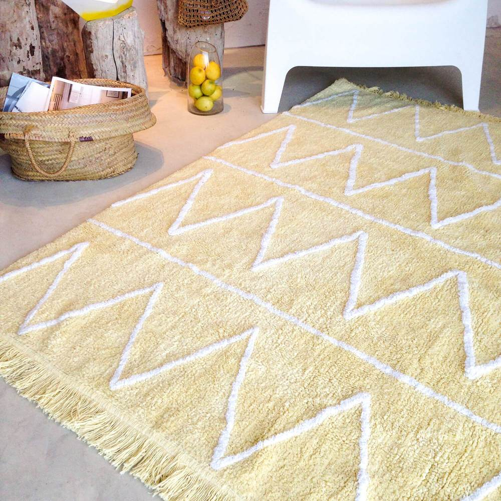 Yellow cotton geometric rug
