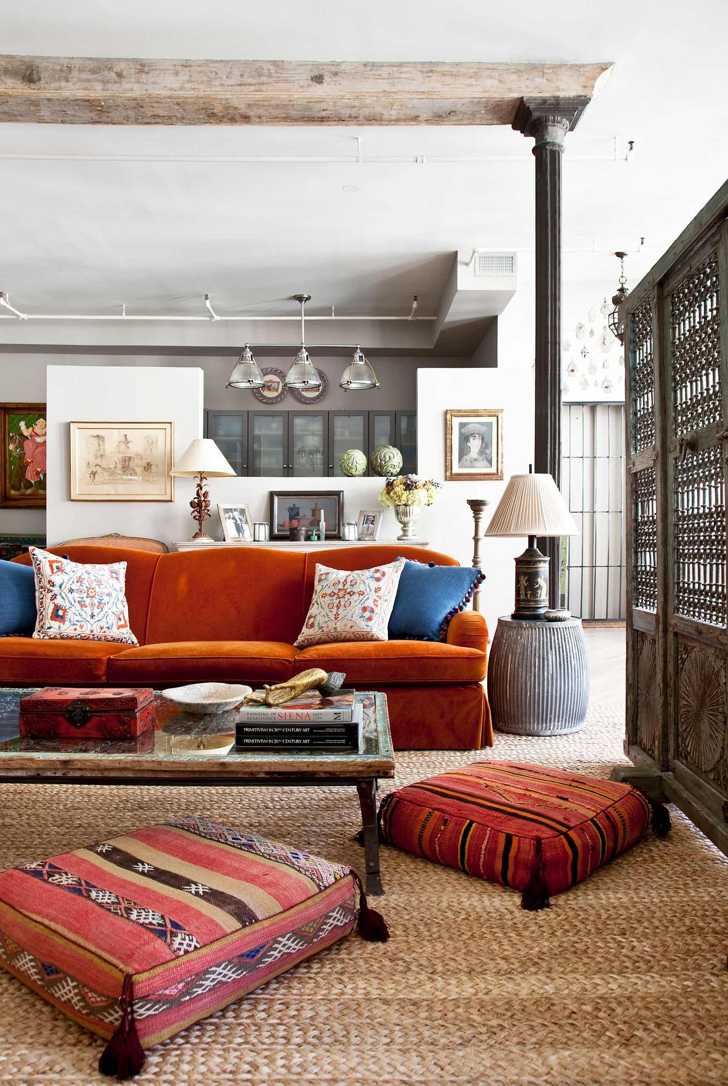 Bohemian style living room with pops of bright color everywhere