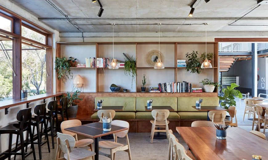 Raw Concrete Beauty Coupled with Earthen Green Charm Inside Elegant Aussie Restaurant