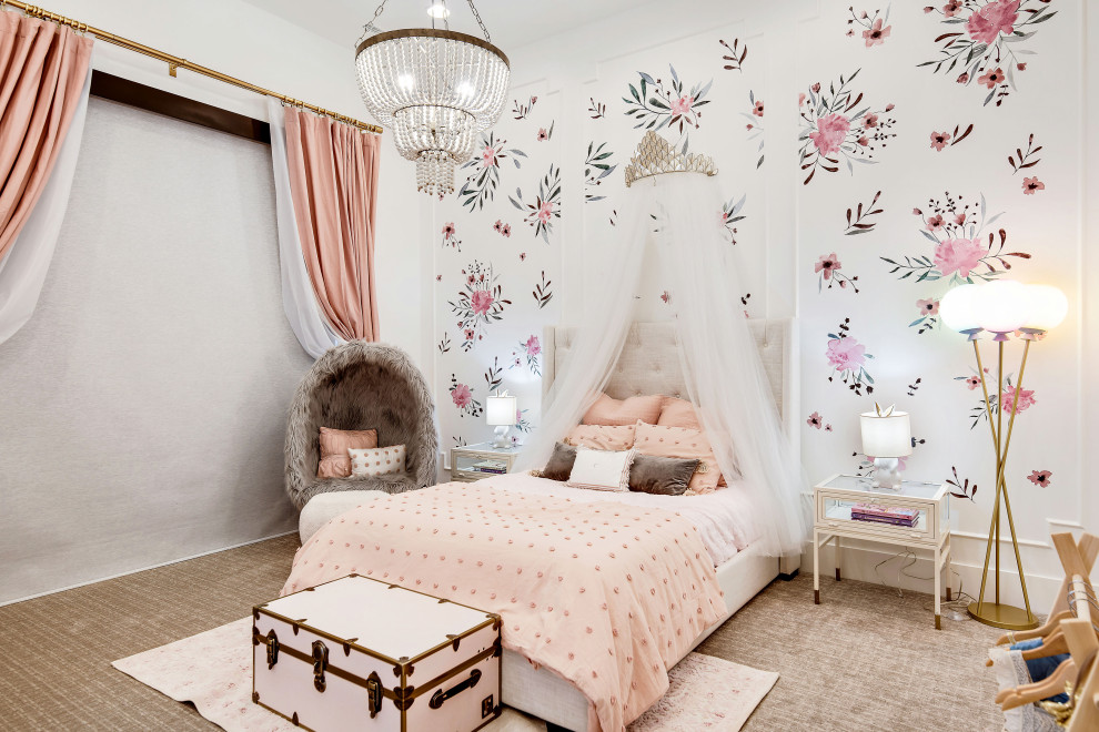 Flowers, pastel pink and whole lot of white are perfect for the modern girls' nursery