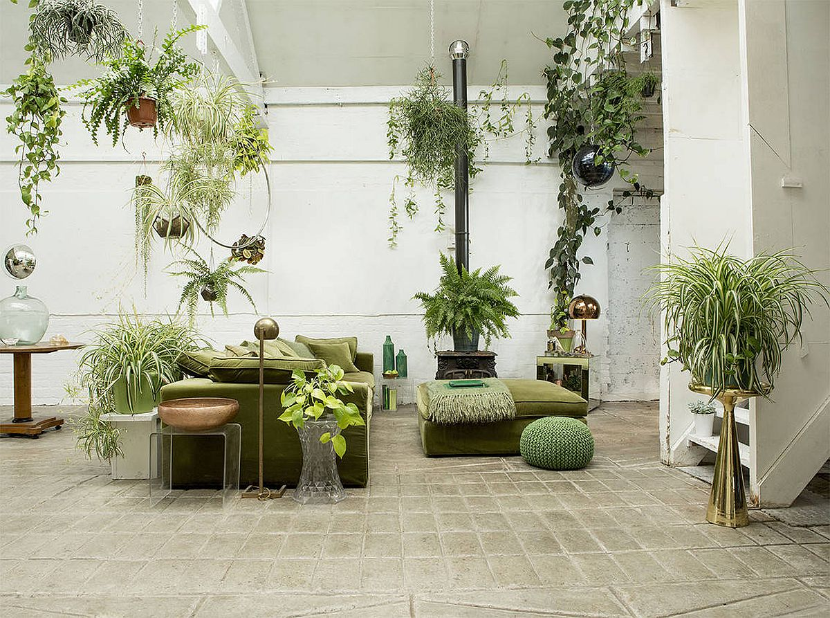 Going green in the boho chic living room in an imaginative style