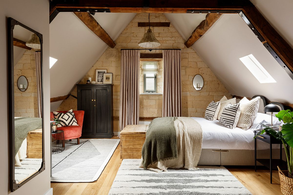 Lovely bedroom combines farmhouse and modern touches with ease