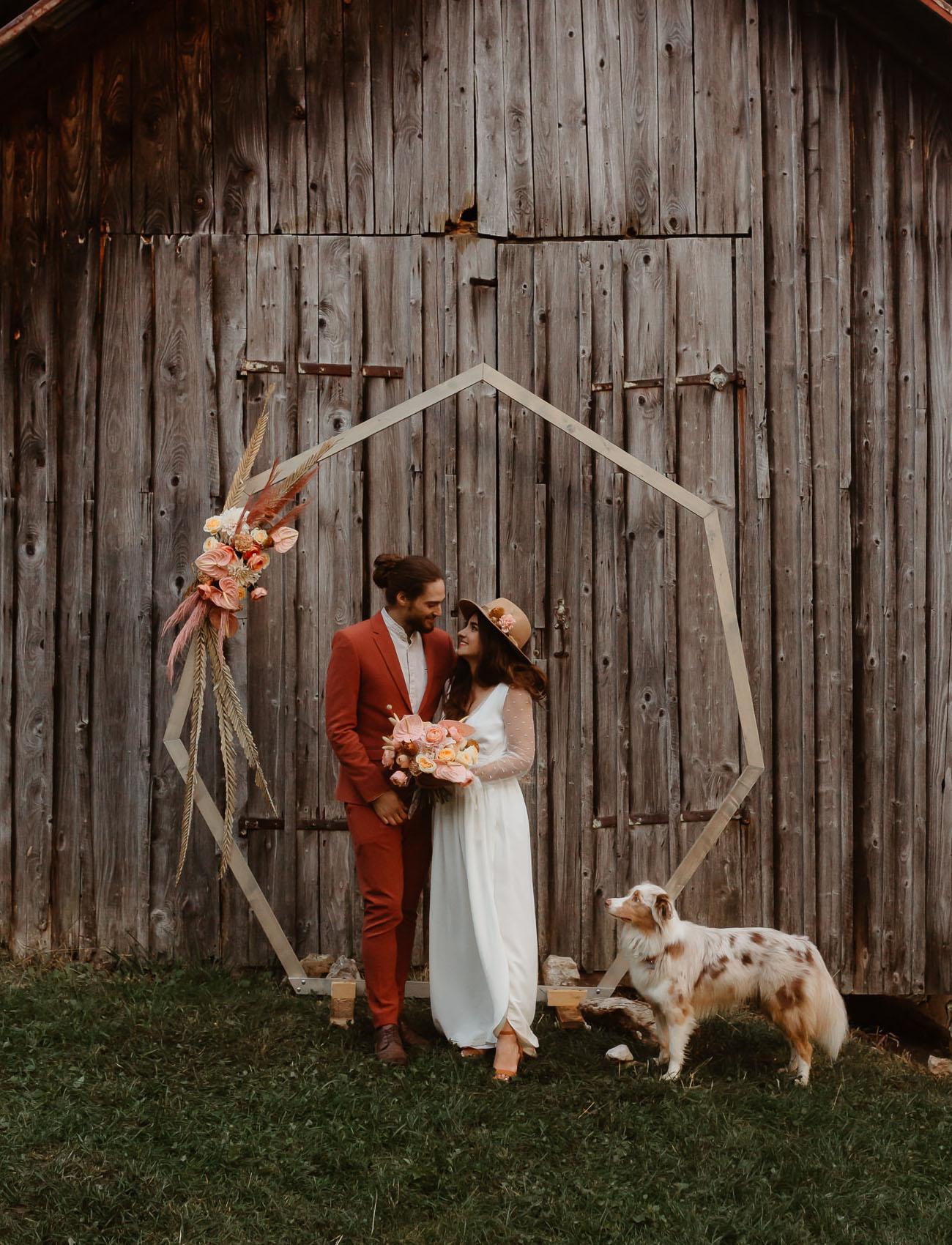 Modern hexagonal wedding arch