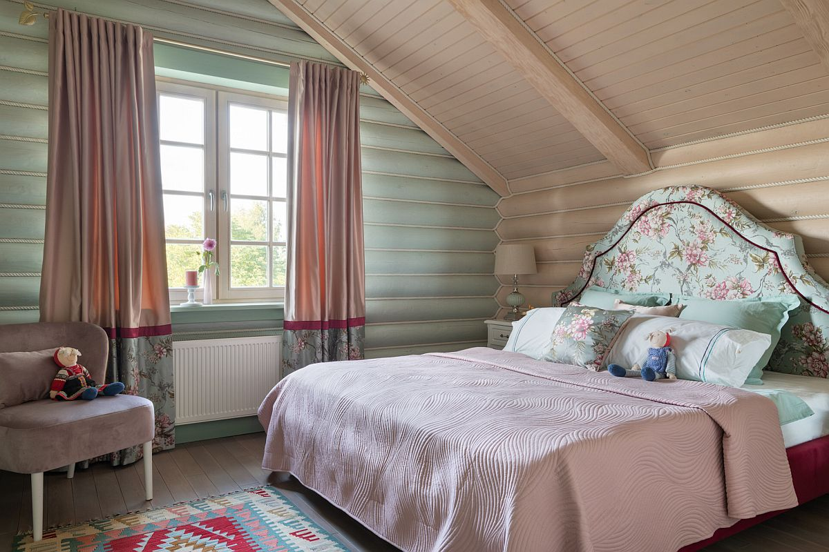 Pastel green adds color to the bedroom without making it too bright