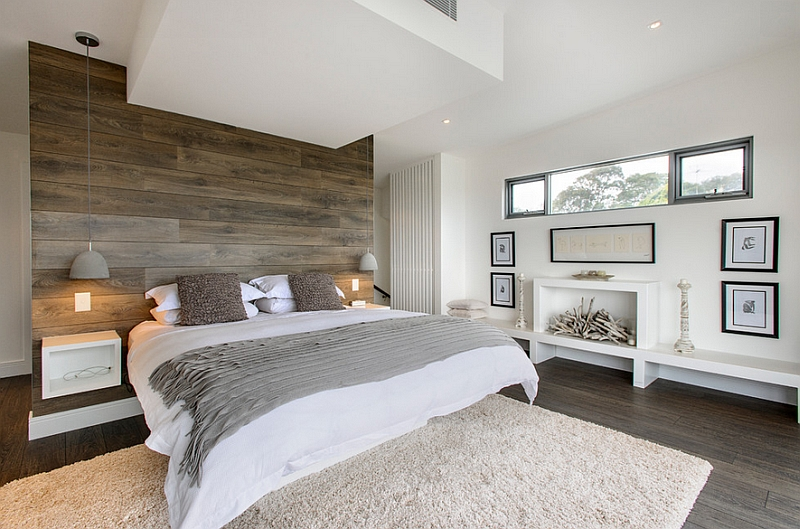 Recliamed wood wall for the bedroom in white