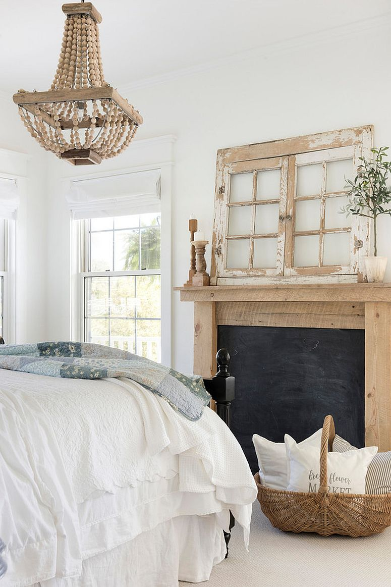 Shabby chic and rustic touches coupled with relaxing white and wood color scheme in the bedroom