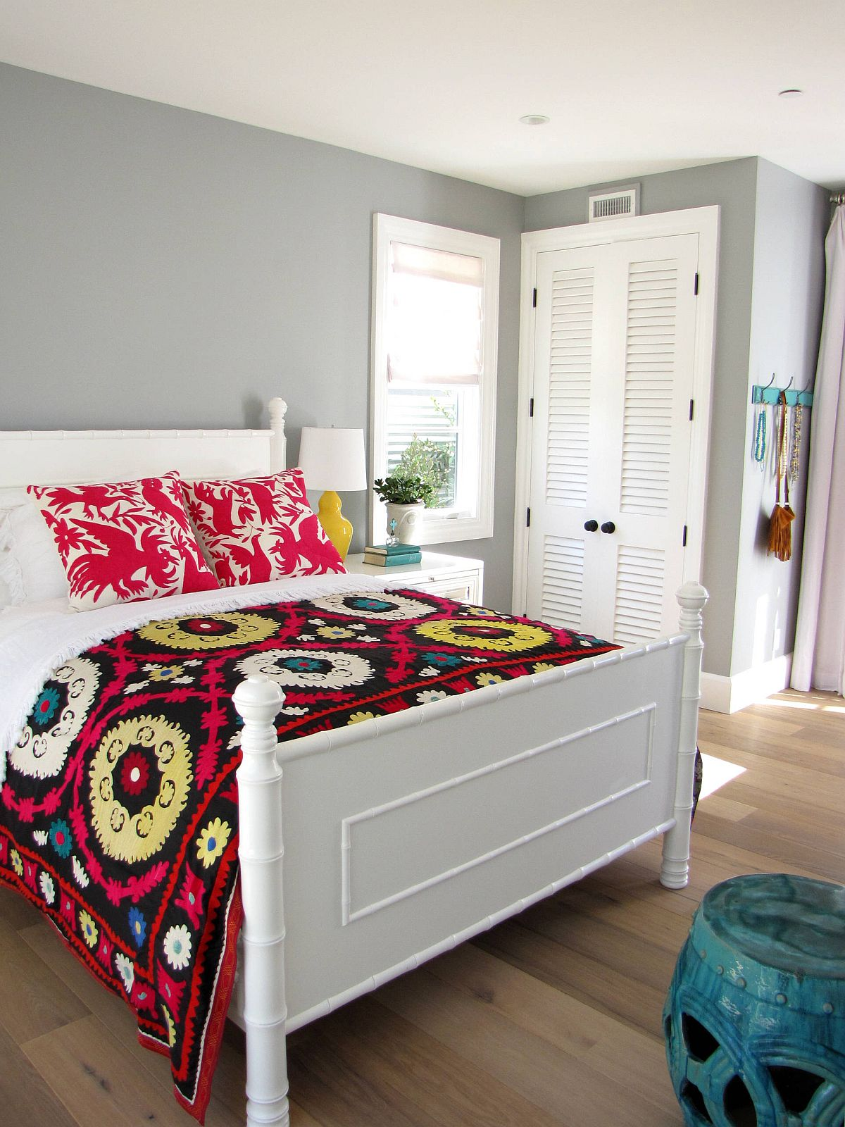 Use textiles to add bright color to the bedroom with ease